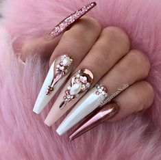 24 latest bling acrylic coffin nails design with rhinestone for spring &amp Glam Nails, Fancy Nails, Bling Nails, Diva Nails, Bling Bling, Nails Yellow, Rose Gold Nails, Red Nail, Pastel Nails