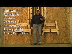"Sawhorse ""The Ultimate Folding Sawhorse"" Shopdog - YouTube Carpentry Tools, Woodworking Garage, Woodworking Projects, Garage Shed, Diy Garage, Folding Sawhorse, Diy Sawhorse, Saw Horse Diy, Workbench Designs"