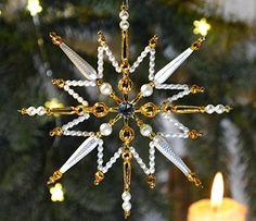 Weihnachtsstern aus böhmischen Hohlglasperlen
