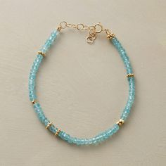 "APATITE SPOTLIGHT BRACELET -- Apatite's delicate hue is given room to shine, a cool blue counterpoint to 22kt vermeil beads. Handcrafted in USA with 14kt goldfill chain and spring ring clasp. 6-1/4"" to 7""L."