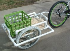 DIY PVC Bike Trailer to ride to the beach with! Pvc Pipe Crafts, Pvc Pipe Projects, Diy Projects To Try, Welding Projects, Bike Cargo Trailer, Bike Trailers, Flatbed Trailer, Custom Trailers, Tube Pvc