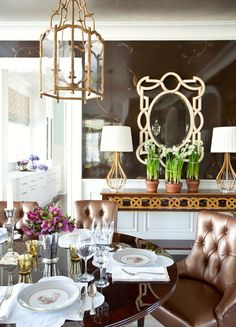 brown and white in this sparkly dining room ~ Ashley Whittaker
