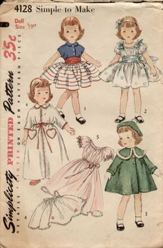 Vintage Simplicity pattern (doll clothes) to miniaturize for sewing basket Source: Vintage Patterns Wikia