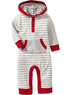 Striped Hooded One-Pieces for Baby i love the hoodie pockets