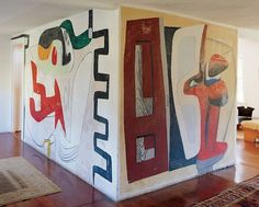 Le Corbusier painted this mural in a Long Island house. Very Funky & FUN! Le Corbusier, Long Island House, Modernisme, Franz Kline, Interior And Exterior, Interior Design, Decoration Inspiration, Wall Drawing, Alvar Aalto