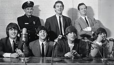 The Beatles Dallas 1964 All smiles, the group faces their last press conference of the tour in Dallas, September 18, 1964.