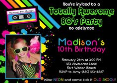 S Party Digital Printable Invitation Template Retro Party - 80s party invitation template