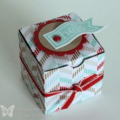 Love To Stamp: Cute mini box created with the Simply Scored Scoring tool.  Sized to fit a votive candle or tea light.