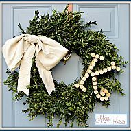 Wine Cork Monogrammed Boxwood Wreath