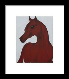 Horse Painting Framed Print featuring the painting Red Arabian Passion 2 by THELLI Helenia Tedesco