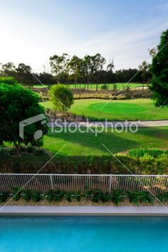 Golf course view from balcony Royalty Free Stock Photo