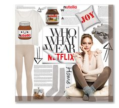 """""""What to Wear: Netflix Binge"""" by mariamharrasova ❤ liked on Polyvore featuring ilux, Balmain, Victoria Classics, H&M and FREDS at Barneys New York"""