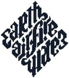 Earth Air Fire Water Elements Counted Cross Stitch Patterns Wiccan Pagan PDF. $3.00, via Etsy.: