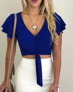 Women Blouses New Fashion Button V-neck Office Shirt Chiffon Blouse Sexy Butterfly Sleeve Short Tops Slim Summer Blouse Crop Top Outfits, Summer Outfits, Cute Outfits, Formal Outfits, Sexy Shorts, Look Fashion, Fashion Outfits, Latest Fashion, Womens Fashion
