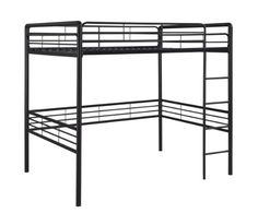 Open up space in any room with this Metal Full size Loft Bed and please everyone with its contemporary metal design that matches any bedroom decor. Decorate the space under the bunk bed to suit your n Loft Bed Frame, Full Bed Frame, Loft Beds, Bed Frames, Dining Room Furniture, Furniture Decor, Black Furniture, Metal Bunk Beds, Black Rooms