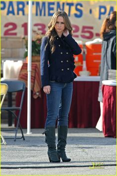 Jennifer Love Hewitt Casual Style Skinny Jeans, tall boots Military Inspired Jacket