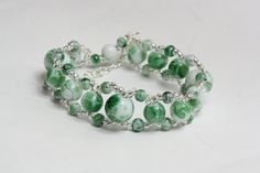 Green glass beads bracelet by AGoodBead on Etsy