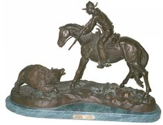 'Double Trouble' Solid Bronze Statue Handmade Sculpture Inspired By Frederic Remington Regular Size