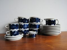 Set of Arabia Blue Anemone Large Cups and Saucers Creamer Egg Cup by Ulla Procope by ModernSquirrel on Etsy
