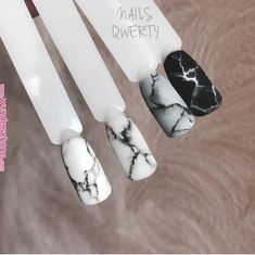 Apr 2020 - Pin by Marina Bondar on Nails in 2019 Cute Acrylic Nails, Cute Nails, Pretty Nails, Hair And Nails, My Nails, Marmor Nails, Marble Nail Art, How To Marble Nails, Black Marble Nails