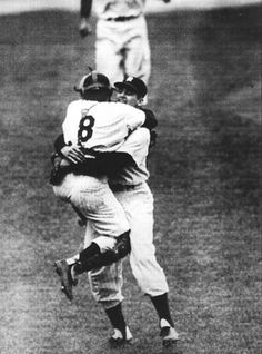 Yogi Berra and Don Larsen celebrate after Larsen throws the only perfect game in World Series history. - Oct. 8, 1956