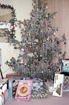 Vintage Christmas tree -The mirror reminds me of childhood Christmas.