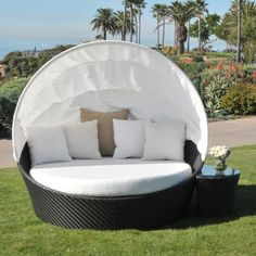Caluco Maxime All-Weather Wicker Daybed Set with Canopy - Wicker Chairs & Seating at Hayneedle