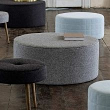 Bloomingville Pouf Plain Hellgrau, Wolle-Polyester-Mix