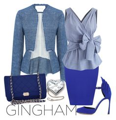 """""""Blue Gingham"""" by velvy ❤ liked on Polyvore featuring 10 Crosby Derek Lam, Sergio Rossi, WearAll, Chicwish, Louis Vuitton and Chanel"""