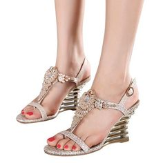 f47e14a8bfb513  EBay  Hee Grand 2017 Wedges Gladiator Sandals Bling Crystal Flip Flops  Sexy High Heels · Dressy SandalsGladiator SandalsWomen s ...