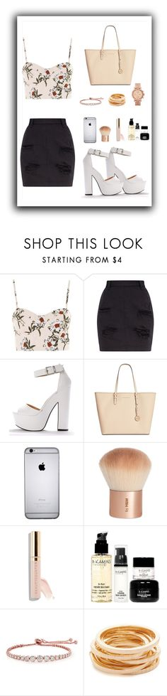 """Night out"" by mikayla0206 ❤ liked on Polyvore featuring Topshop, Michael Kors, H&M, Beautycounter, B. Kamins, CARAT* London, Kenneth Jay Lane and FOSSIL"