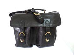Vintage Briefcase Black Leather Laptop Bag by KMalinkaVintage,