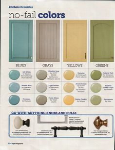 Great colors to paint your kitchen cabinets, these colors will always look fab! Blues: Salt Water by Martha Stewart Living Paint Honest Blue by Sherwin … Read More