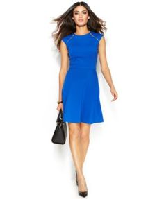 MICHAEL Michael Kors Zip-Detail Ponte Dress | macys.com
