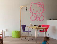 . Vinilo Infantil para decoración de habitaciones infantiles Hello Kitty con osito 01649