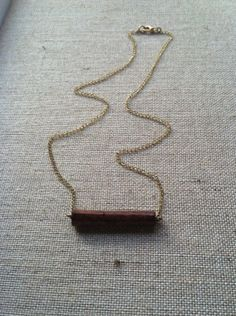 Wooden Jewelry Minimalist Necklace Wood and Gold by 3LoveDesigns, $28.00