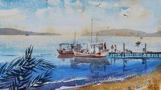 Boats, Watercolor, Vinita Pappas