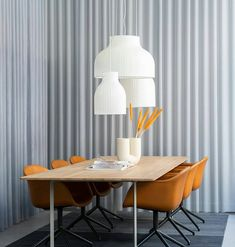 The Strand Pendant Lamp is designed with soft, playful forms for a modern expression. The design provides both diffused lighting and direct lighting, the latter through its top and bottom opening. The design is made in a sprayed cocoon material that consists of tiny strands for a complex, intriguing structure that, paired with its modern form, gives the Strand Pendant Lamp an almost cloud-like appearance. Interior Lighting, Modern Lighting, Direct Lighting, Scandinavian Modern, Pendant Lamp, Armchair, Dining Table, Interior Design, Furniture