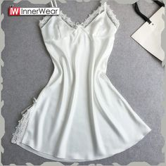 plus nightgown on sale at reasonable prices, buy Women Night Gown Sexy Lace Women Nightgowns Lace Plus Size Princess Sleep Wear For Women Night Dress Sleepwear Robe De Nuit from mobile site on Aliexpress Now! Silk Sleepwear, Sleepwear Women, Lingerie Sleepwear, Nightwear, Girls Night Dress, Night Gown, Girl Night, Ropa Interior Babydoll, Nightgown Pattern