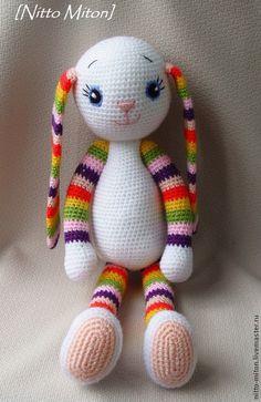 Купить Зайка-обнимашка, 44см / Вязаная игрушка - вязаная игрушка, игрушка