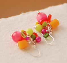 Funky Colorful Earrings Fun Jewelry Whimsical by WildWomanJewelry