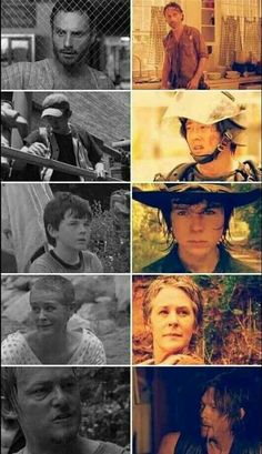 Before and after of the original survivors - Rick, Glenn, Carl, Carol and Daryl