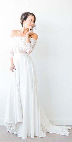 Long Sleeves Off the Shoulder Lace Top Long Wedding Dresses, PM0636 #wedding #weddingdress #bridaldress