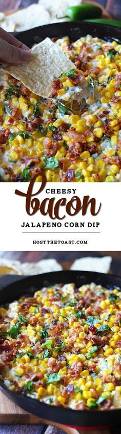 Cheesy Bacon Jalapeno Corn Dip. The sprinkle of basil seems weird but it's so amazing. This is a new football Sunday must-have. Game day #appetizer at its finest! | http://hostthetoast.com