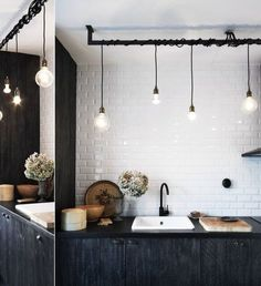 : Eclectic Industrial Style TrendHome : Eclectic Industrial Style Walking to Habitat restore now.TrendHome : Eclectic Industrial Style Walking to Habitat restore now. Kitchen Interior, Black Kitchen Faucets, Basement Lighting, Interior, Kitchen Remodel, House Interior, Sweet Home, Home Kitchens, Eclectic Industrial