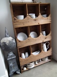 chicken nest boxes turned dish cabinet, in love! I'm totally country... Not western... Country!