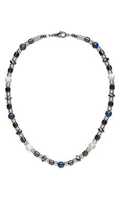 Single-Strand Necklace with Gemstone Beads, Hemalyke™ Beads and Silver-Plated Brass Beads - Fire Mountain Gems and Beads
