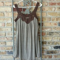 Sophie Max tank Crochet neck, back,  and pit line. Pretty petite blue and brown patterns. Gently used. Sophie Max Tops Tank Tops