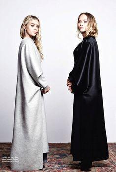 Mary-Kate & Ashley // long coats & wavy hair #style #fashion #mka #olsentwins #celebrity