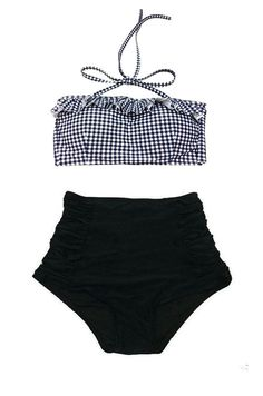 Plaid Gingham Checker Top and Black Ruched High by venderstore